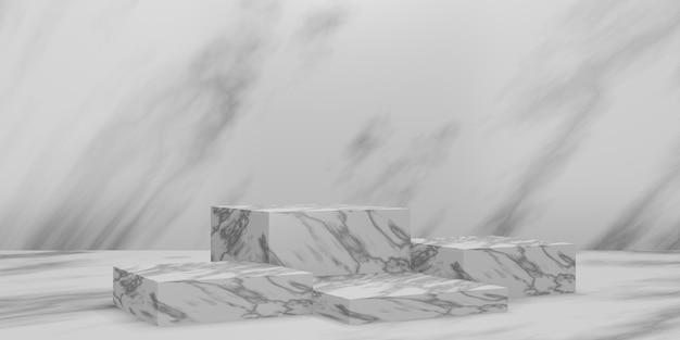 Podio cubo di marmo 3d o piedistallo con sala studio vuota in marmo, sfondo del prodotto minimo, modello mock up per la visualizzazione, geometrico di forma quadrata