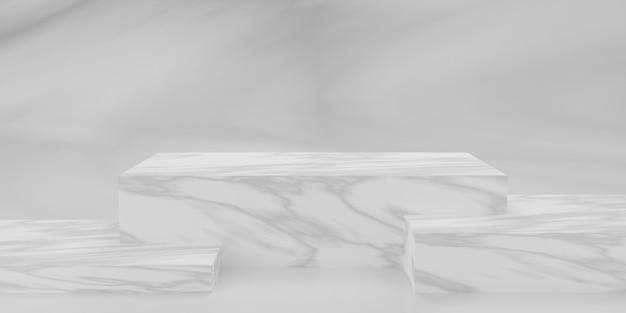 Podio o piedistallo rettangolare in marmo 3d con sala studio vuota in marmo, sfondo del prodotto minimo, modello mock up per la visualizzazione, forma geometrica del rettangolo