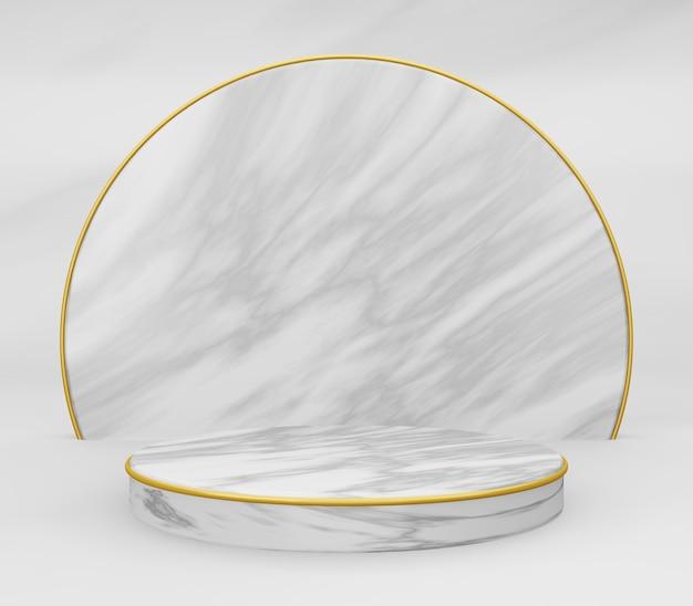 Podio rotondo in marmo 3d o piedistallo con anelli d'oro, stanza studio vuota in marmo bianco, sfondo del prodotto minimo, modello di modello per esposizione cosmetica, forma geometrica del cilindro, concetto di lusso