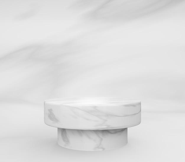 Podio rotondo in marmo 3d o piedistallo con sala studio vuota in marmo, sfondo del prodotto minimo, modello di modello per esposizione cosmetica, forma geometrica del cilindro, concetto di lusso