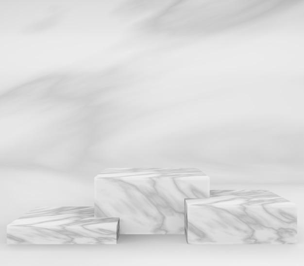 Podio quadrato in marmo 3d o piedistallo con sala studio vuota in marmo, sfondo del prodotto minimo, modello mock up per la visualizzazione, geometrico di forma quadrata
