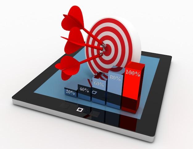 Concetto di scopo della strategia di marketing 3d. tablet con bersaglio