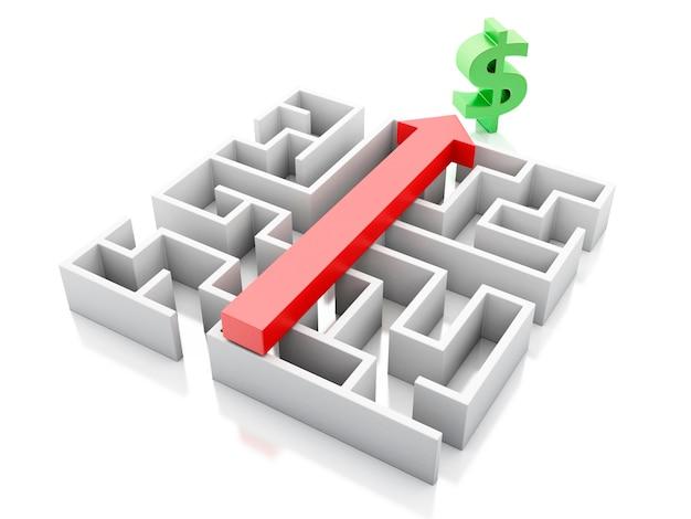 3d un labirinto e sopra una freccia che punta al simbolo del dollaro.