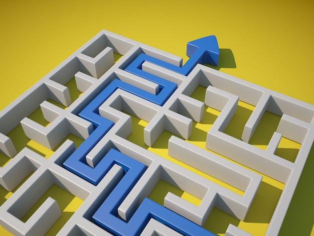 Labirinto 3d con la freccia all'uscita