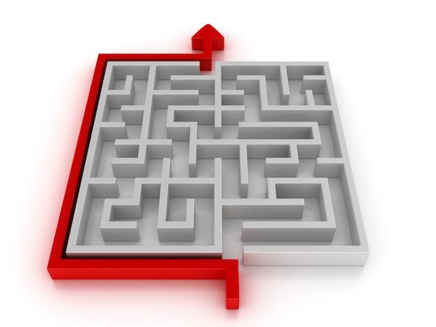 Labirinto 3d con percorso freccia