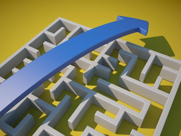 Labirinto 3d con scorciatoia da freccia
