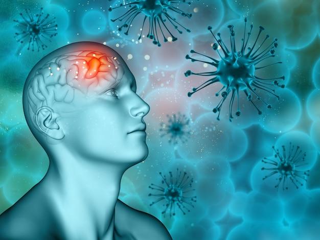 Sfondo medico 3d con figura maschile e cellule del virus