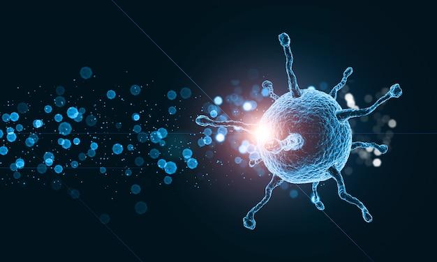 Chiarore di cellule e virus del virus medico 3d