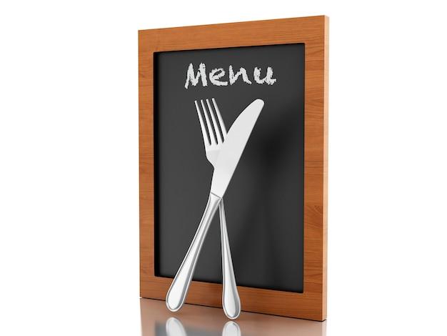 Scheda del menu 3d con forchetta e coltello.