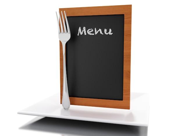 Scheda del menu 3d con piatto e forchetta