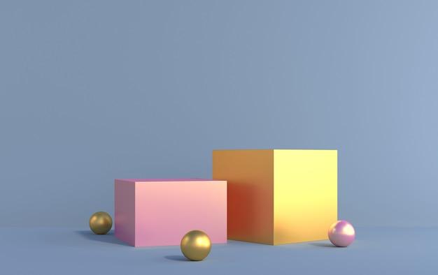 Cubi di metallo 3d di colore rosa e giallo per la dimostrazione del prodotto, rendering 3d