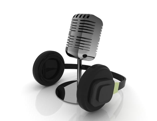 Microfono 3d e cuffia isolati su bianco