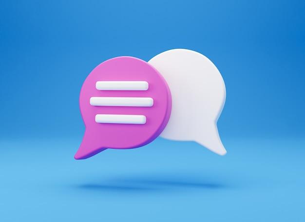 3d minimo concetto di conversazione in chat. icona di chat di gruppo discorso bolla isolato su priorità bassa blu. messaggio creativo social media chat concetto comunicazione o commento chat simbolo. rendering 3d