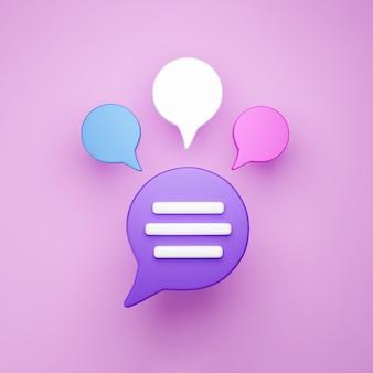 3d minimo concetto di conversazione in chat. icona di chat di gruppo discorso bolla isolato su sfondo rosa. messaggio creativo social media chat concetto comunicazione o commento chat simbolo. rendering 3d