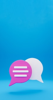 3d minimo concetto di conversazione in chat. icona di chat del fumetto isolato su priorità bassa verticale blu. messaggio creativo social media chat concetto comunicazione o commento chat simbolo. rendering 3d