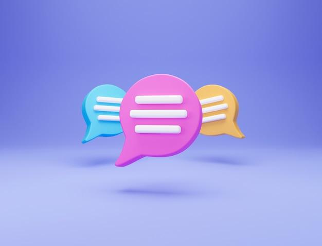 3d minimo concetto di conversazione in chat. tre icona di chat bolla discorso isolato su priorità bassa blu. messaggio creativo social media chat concetto comunicazione o commento chat simbolo. rendering 3d