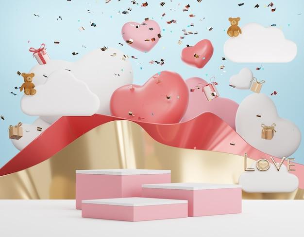 Minimo 3d di display podio con sfondo di cuore adorabile per san valentino.