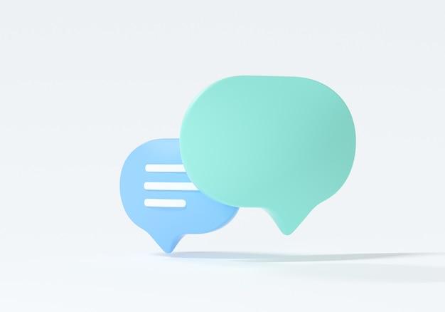 Bolle di chiacchierata verdi e blu minime 3d su fondo bianco. concetto di messaggi sui social media. illustrazione di rendering 3d