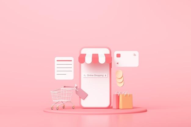 Acquisto in linea minimo 3d sul servizio dell'applicazione per smartphone, marketing digitale, acquisto in linea e concetto di pagamento in linea. priorità bassa della bandiera 3d.