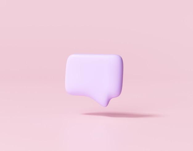 Bolla di chat viola minimale 3d. concetto di messaggi sui social media. rendering 3d