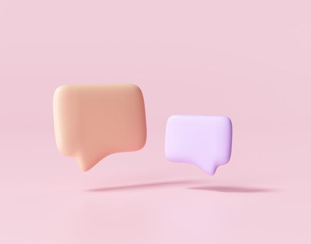 Bolle di chat viola e arancioni minimali 3d. concetto di messaggi sui social media. rendering 3d