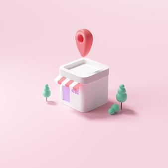 Negozio minimo 3d con spilla mappa, casa su sfondo rosa. illustrazione di rendering 3d