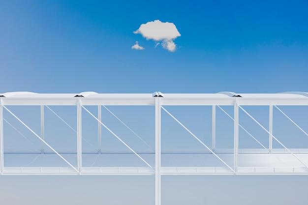 3d minimo di passerella bianca con nuvole e cielo, rendering di illustrazioni 3d