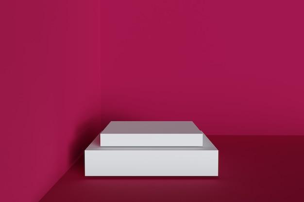 Podio minimalista 3d geometrico con sfondo rosso