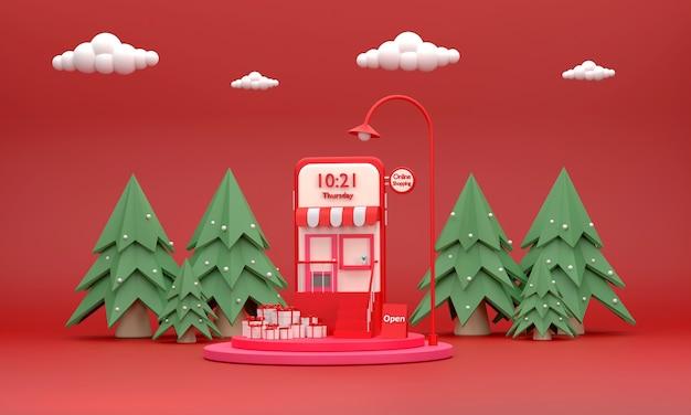 3d. telefono cellulare che gestisce un negozio online e un podio sul tema natalizio. concetto di vendita online.