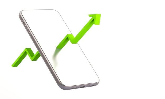 Telefono cellulare 3d con la freccia del commercio azionario online con sfondo dell'illustrazione di rendering 3d