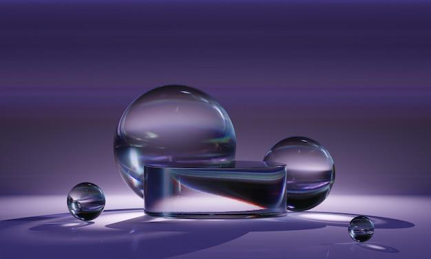 Podio in vetro finto 3d con sfere brillanti trasparenti in freschi colori viola. piattaforma moderna astratta per la presentazione di prodotti o cosmetici. sfondo minimalista contemporaneo.