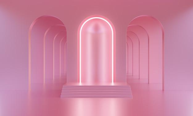 3d mock up podio in una stanza vuota rosa brillante con archi e illuminazione rosa neon. fondo alla moda luminoso minimalista astratto per la presentazione del prodotto. piattaforma moderna in stile metà secolo.