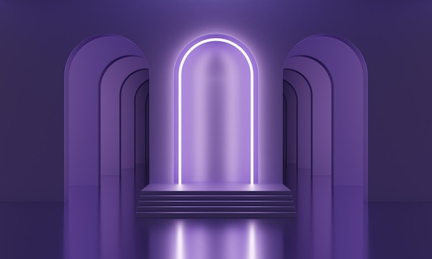 Podio simulato 3d in una stanza vuota viola con archi e illuminazione al neon lilla. fondo alla moda luminoso minimalista astratto per la presentazione del prodotto. piattaforma moderna in stile metà secolo.