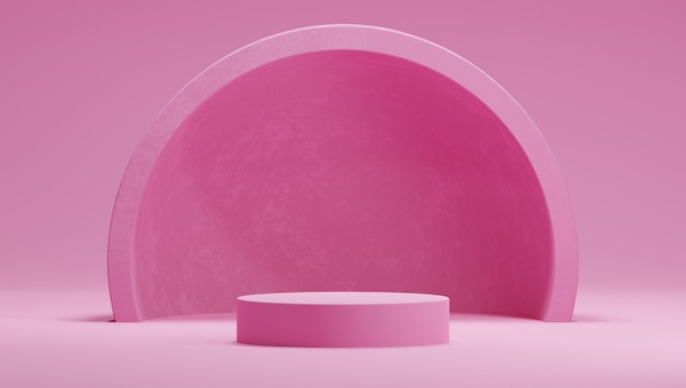 3d mock up podio in colore rosa caramella dolce con emisfero o arco su sfondo rosa.
