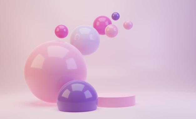 Podio mock up 3d nei toni dolci rosa caramella e viola con palline rosa lucide o sfere che volano nell'aria. render scene per la presentazione del prodotto.