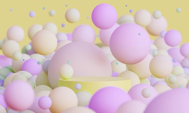 Podio simulato 3d con sfere volanti in giallo e rosa piattaforma moderna per la presentazione del prodotto