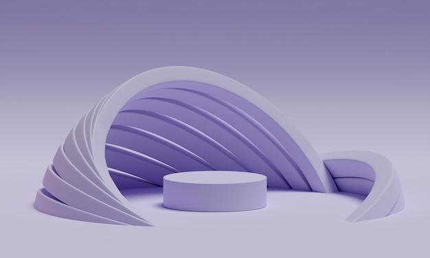 Podio simulato 3d con archi geometrici minimalisti in una tavolozza di lavanda elettrica. piattaforma moderna astratta per la presentazione di prodotti o cosmetici. sfondo elegante contemporaneo