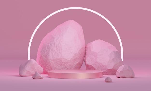 Podio simulato 3d con pietre naturali e illuminazione al neon in una tavolozza rosa brillante. piattaforma moderna per la presentazione di prodotti o cosmetici. sfondo minimalista alla moda.