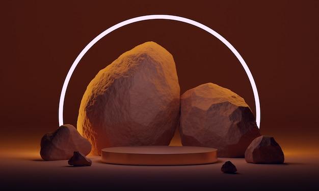 Podio simulato 3d con pietre naturali e illuminazione al neon in terracotta o tavolozza arancione bruciata. piattaforma moderna per la presentazione di prodotti o cosmetici. sfondo scuro minimalista alla moda.