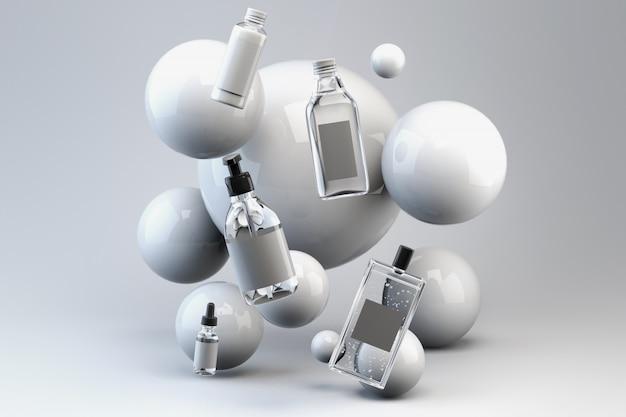 La derisione 3d su rende di un insieme delle bottiglie per cura