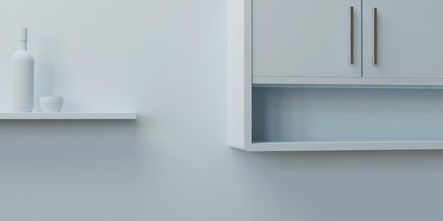 3d mockup vuoto cucina bianca con bottiglia vuota e vetro 3d illustrazione