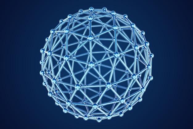Modello 3d della sfera astratta sull'azzurro Foto Premium
