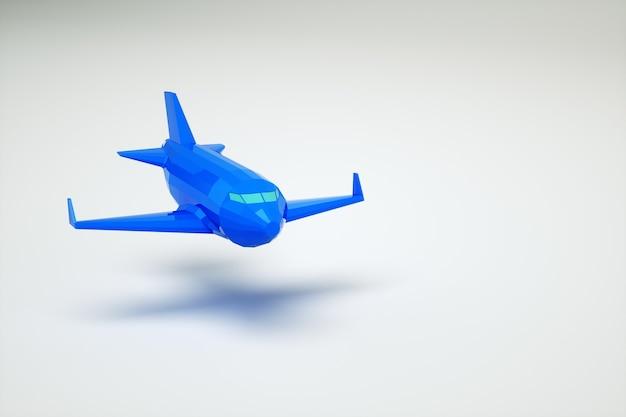 Modello 3d di un aeroplano in aria. aeroplano blu su sfondo bianco. modello grafico dell'aereo. aereo blu isolato su priorità bassa bianca