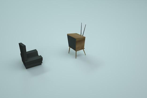 Modello 3d della sedia e della tv. mobili per la casa su uno sfondo colorato. computer grafica. oggetti isolati su uno sfondo bianco