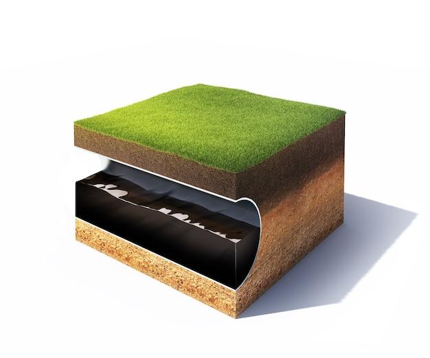 Modello 3d della sezione trasversale del terreno con erba e tubo d'acciaio isolato