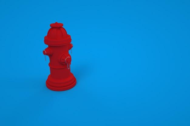 Modello 3d di un idrante antincendio su uno sfondo colorato. idrante antincendio, estintore. strumento di fuoco rosso su sfondo blu isolato