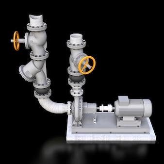 Modello 3d di una sezione di tubo e pompa industriale con valvole di intercettazione su sfondo nero isolato. illustrazione 3d.