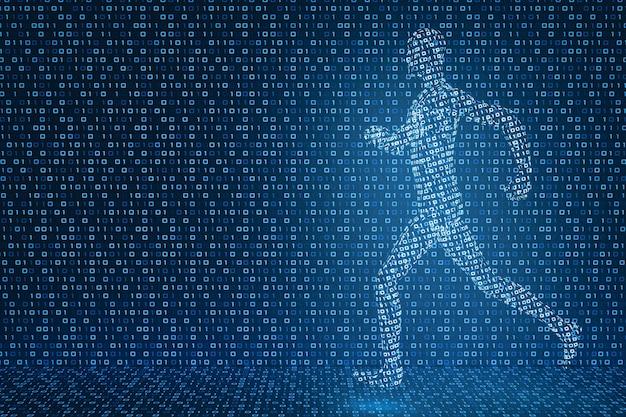Modello 3d di un uomo digitale che corre