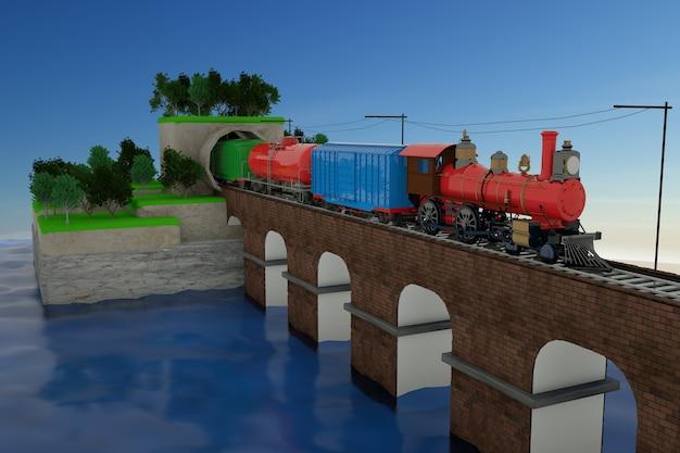 Modello 3d di un treno in uscita dal tunnel. treno con le auto sul ponte ferroviario. treno merci su rotaie