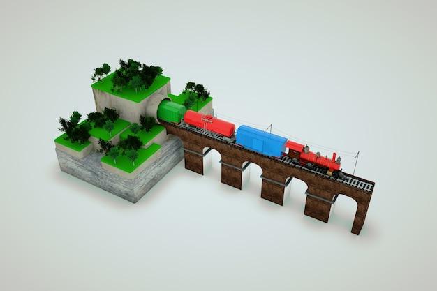 Modello 3d di un treno con auto in uscita dal tunnel sul ponte. allenati sul ponte. il treno merci lascia il tunnel. oggetti isolati su uno sfondo bianco
